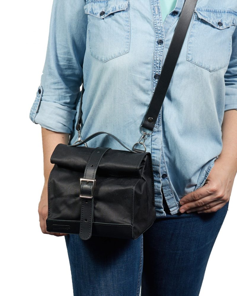 Waxed canvas leather lunch bag with crossbody strap