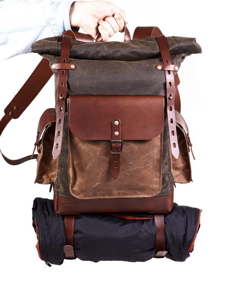 olive tan roll top rucksack waxed canvas leather travel backpack
