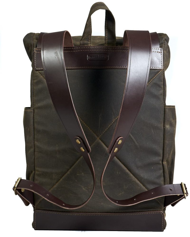 Dark olive waxed canvas roll top backpack