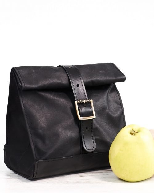 Black waxed canvas leather lunch bag