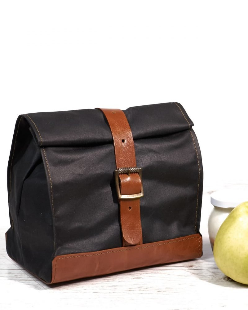 Black orange waxed canvas and leather lunch bag