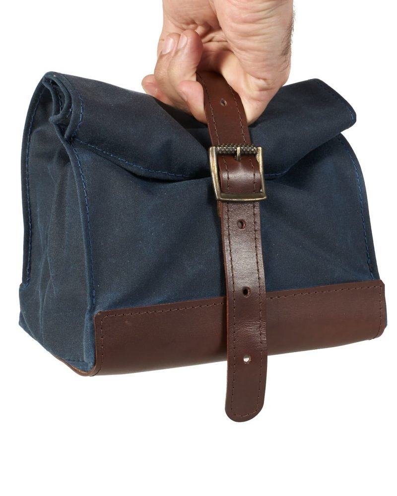 Navy blue brown waxed canvas and leather lunch bag