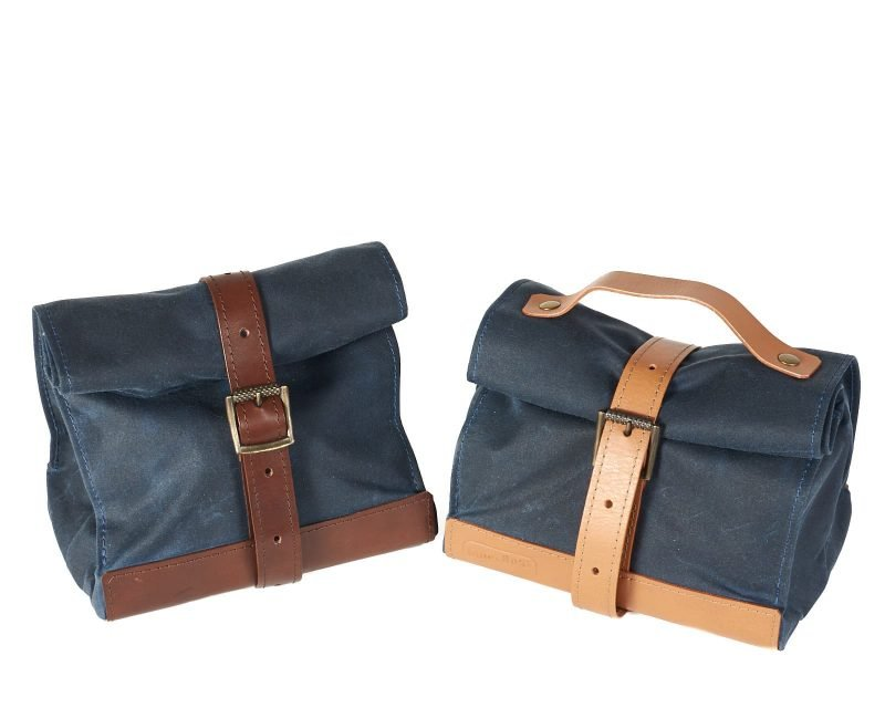 Waxed canvas and leather lunch bag. With and without handle