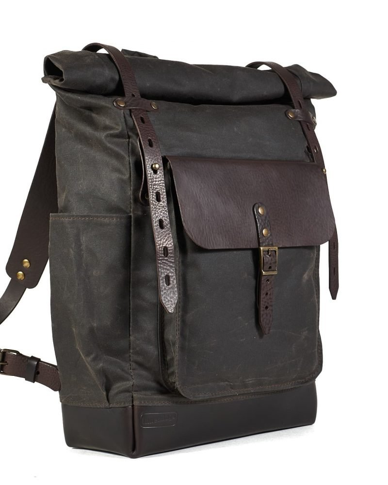 chocolate brown waxed canvas roll top backpack