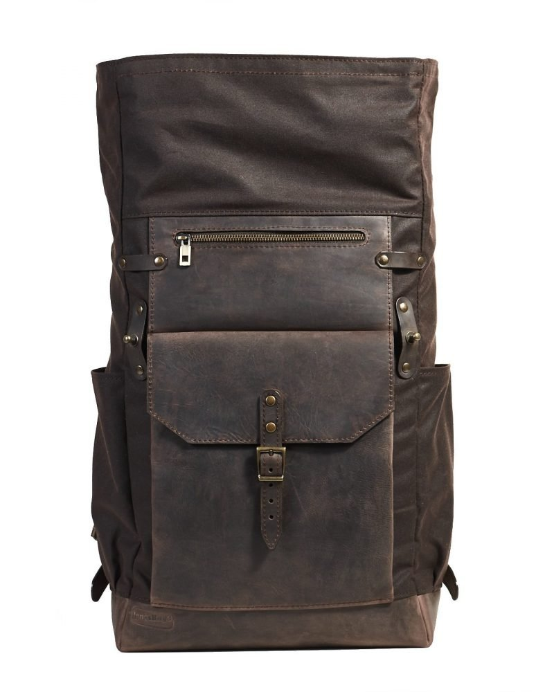 dark brown waxed canvas roll top backpack