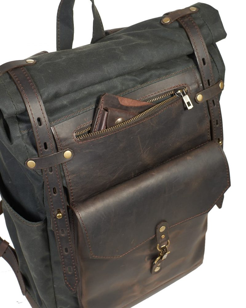 dark green waxed canvas roll top backpack