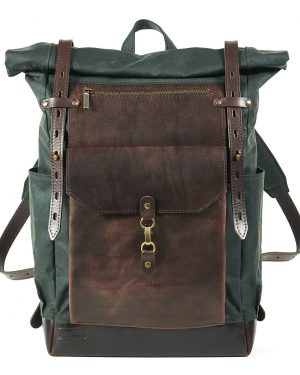 dark green waxed canvas leather roll top backpack