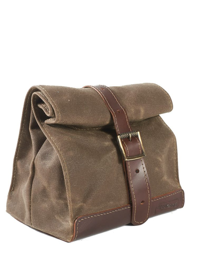 field tan brown waxed canvas leather lunch bag