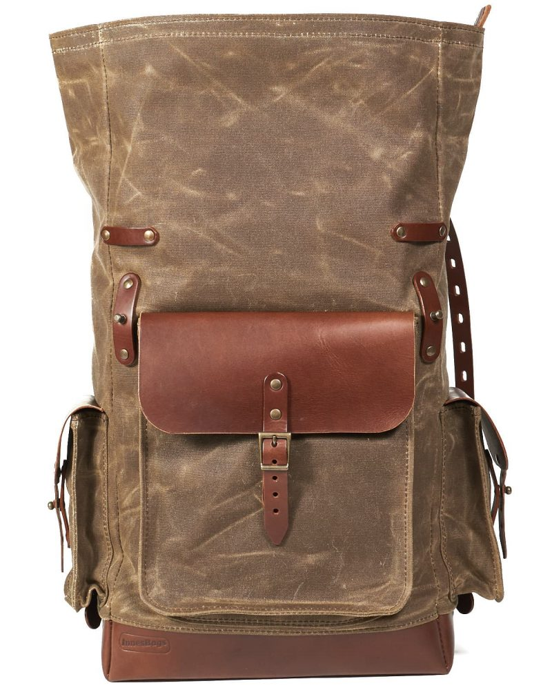 Field tan waxed canvas roll top travel backpack