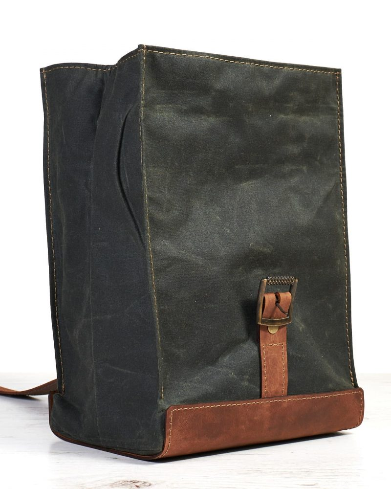 Dark green timber waxed canvas and leather lunch bag