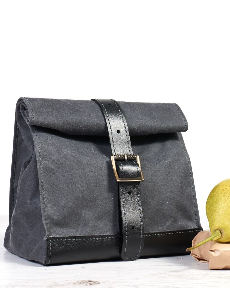 Dark grey waxed canvas leather lunch bag