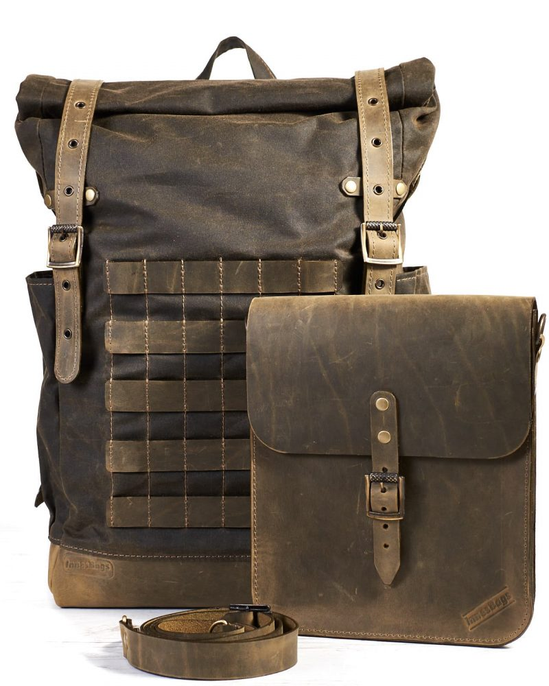 waxed canvas travel backpack with leather bag as front pocket