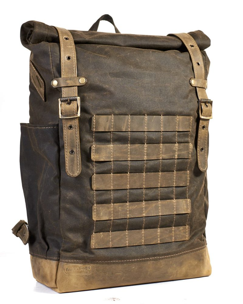 Olive waxed canvas leather backpack with pals