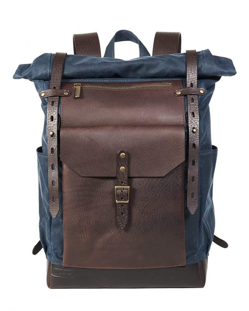 navy blue brown waxed canvas leather roll top backpack