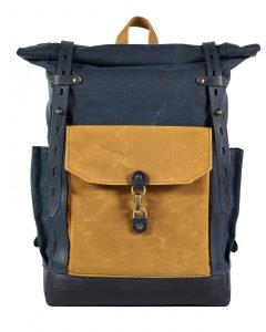navy blue yellow waxed canvas leather backpack