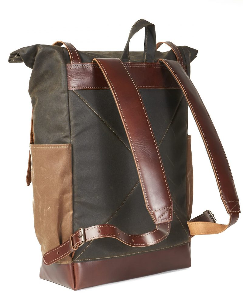dark olive tan waxed canvas roll top backpack