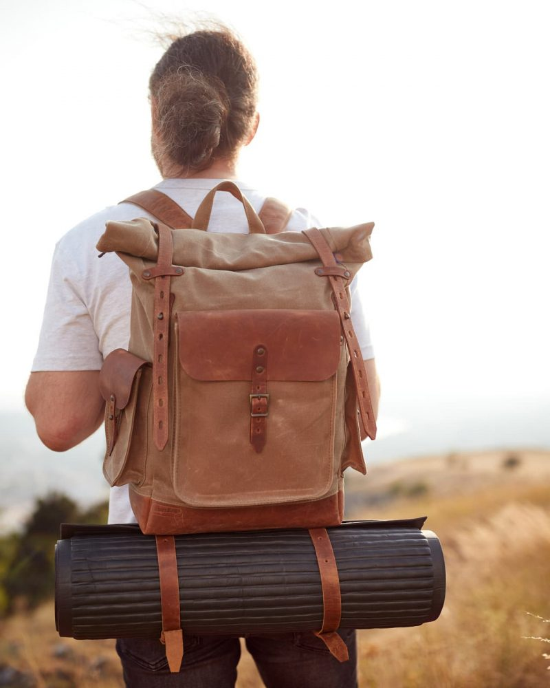 Sage timber roll top travel backpack