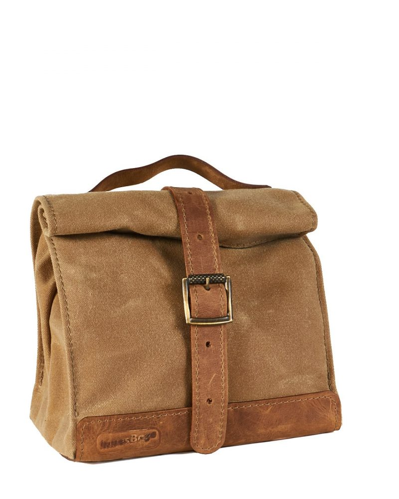 sage waxed canvas leather lunch bag
