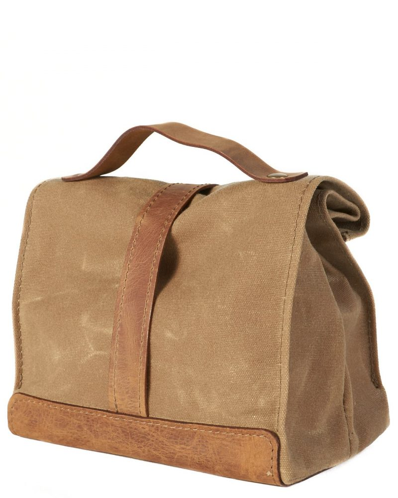 sage timber waxed canvas leather lunch bag