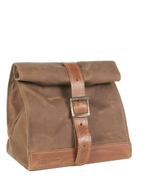 tan brown waxed canvas and leather lunch bag
