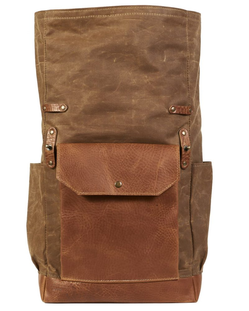 Tan brown roll top waxed canvas leather backpack