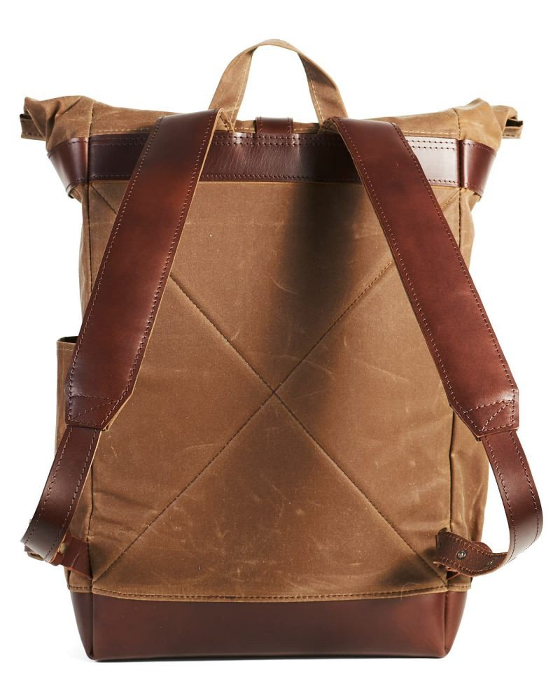tan waxed canvas roll top city backpack
