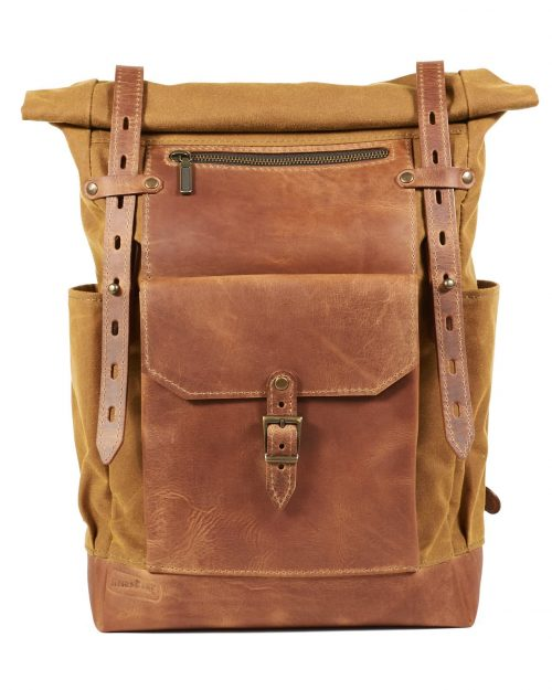 Yellow timber waxed canvas roll top backpack