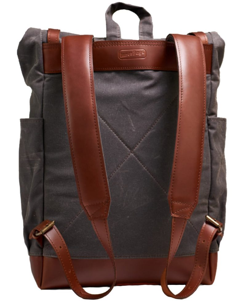 Dark chocolate waxed canvas roll top backpack