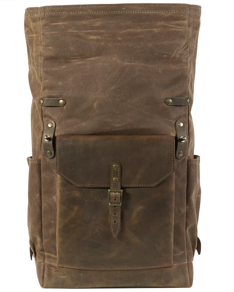 field tan brown waxed canvas leather rucksack for men