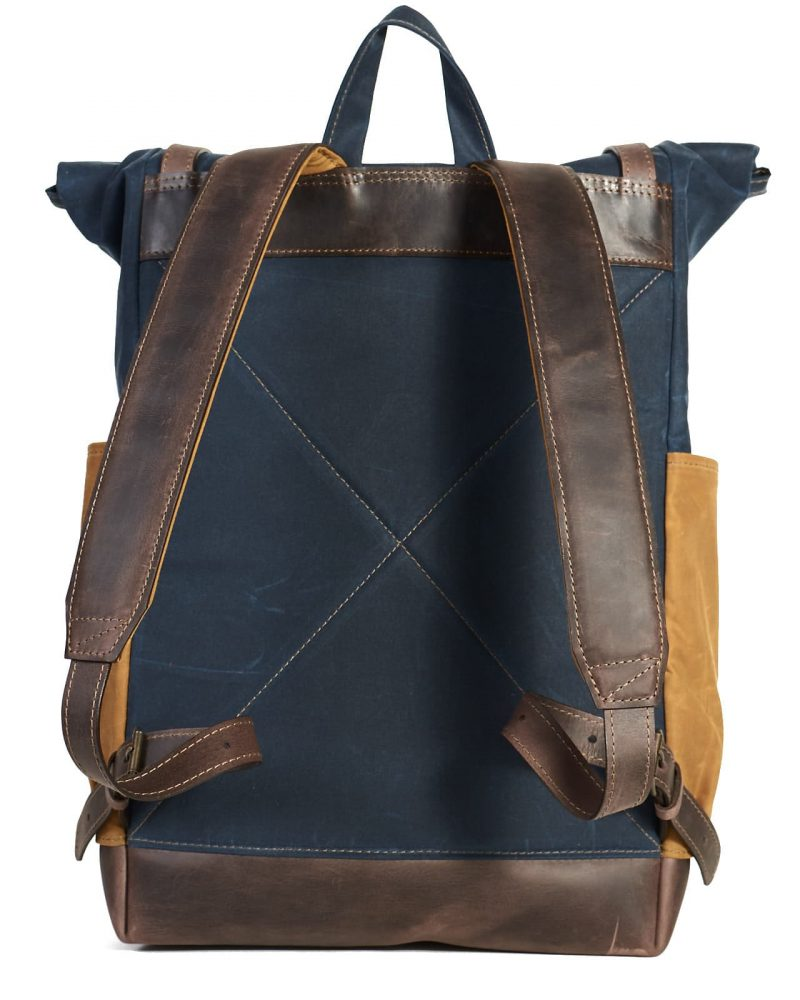 Navy blue yellow waxed canvas roll top urban backpack