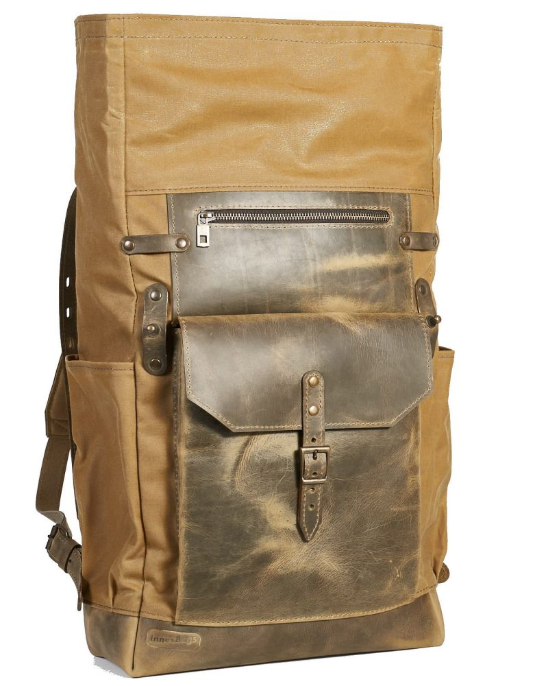 Waxed canvas leather travel backpack in olive green
