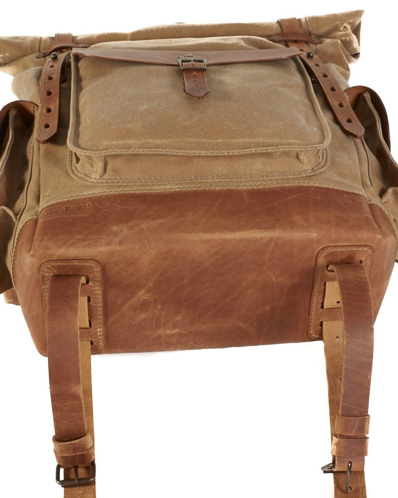 Waxed canvas leather travel backpack with sleepping bag yoga mat attachment