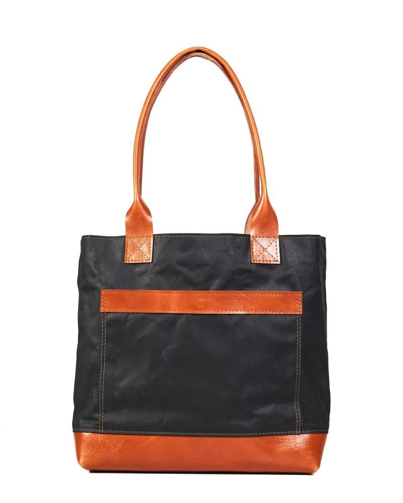 Womens's waxed canvas leather tote bag in black orange
