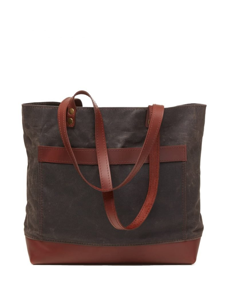 waxed canvas leather tote bag with big front pocket.