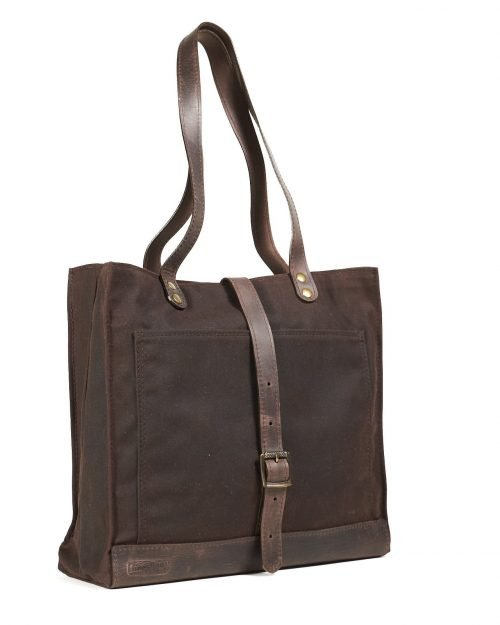 dark brown wax canvas leather work bag