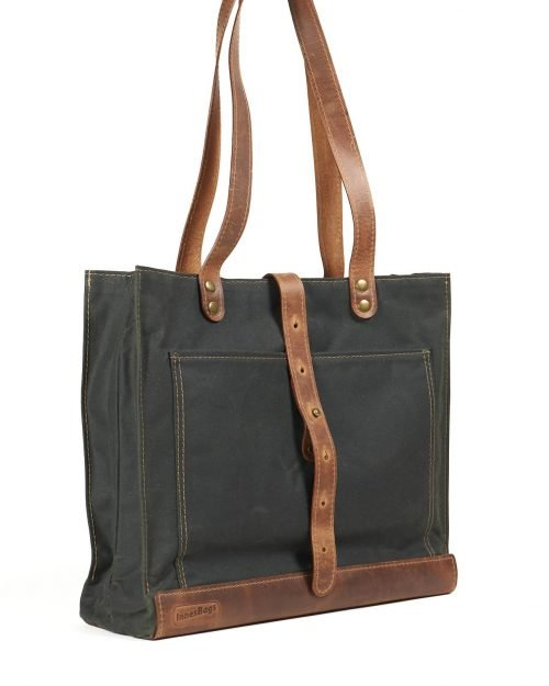 dark green waxed canvas leather shopper bag