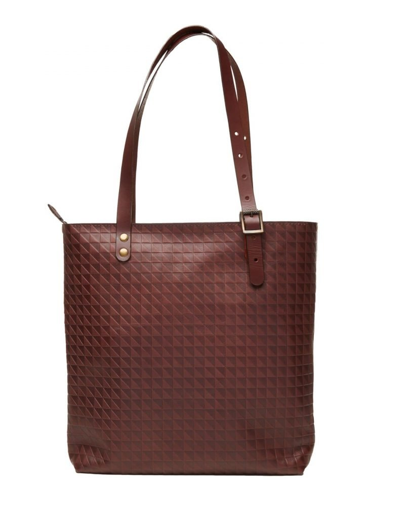 chocolate leather tote bag with zipper