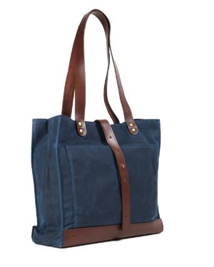 Navy blue brown waxed canvas leather bag for womens