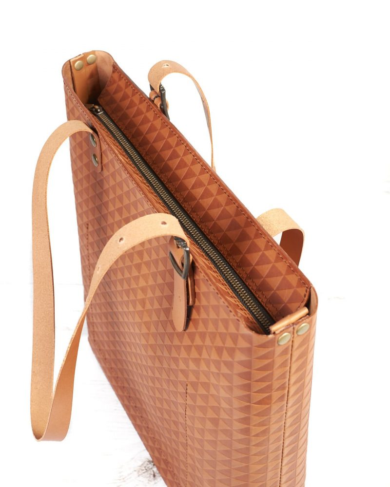 brown vegtanned leather tote bag