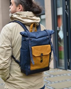navy blue canavs backpack