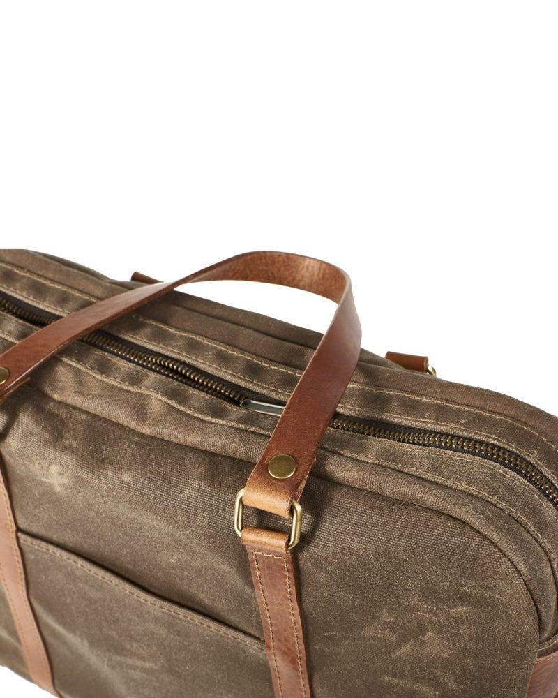 Field Tan & Brown. Waxed canvas satchel