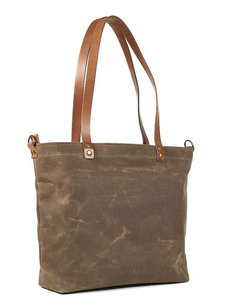 waxed canavas and leather tote bag