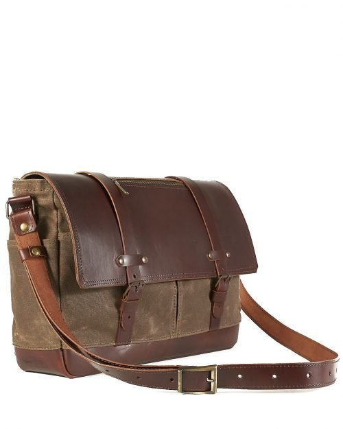 mens canvas leather classic messenger
