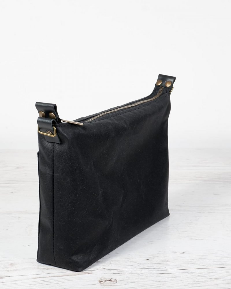black wax canvas bag with zipper