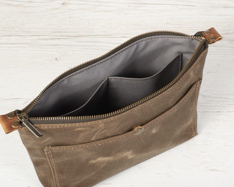 field tan waxed canvas slim pouch