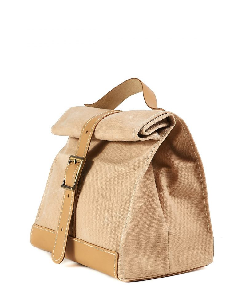 Light beige waxed canvas leather lunch bag