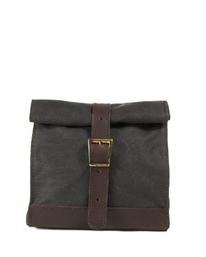 Dark chocolate brown waxed canvas lunch box.