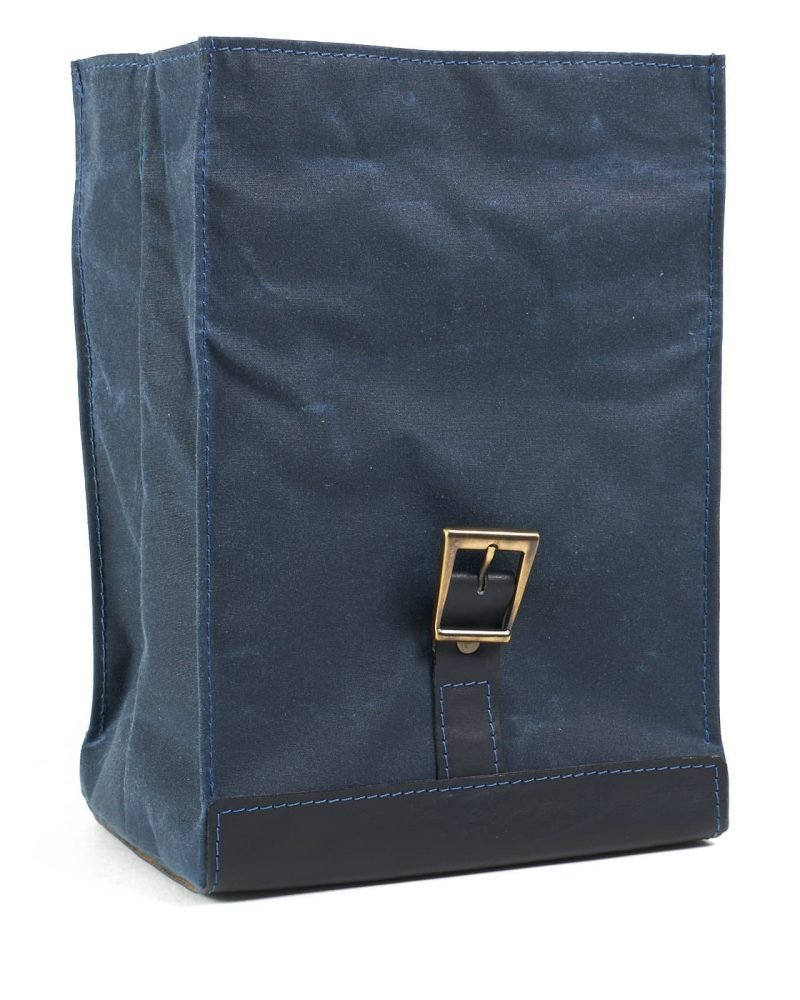 Navy blue waxed canvas leather lunch bag
