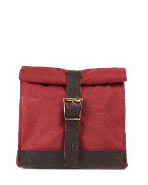 Red brown waxed canvas leather lunch bag