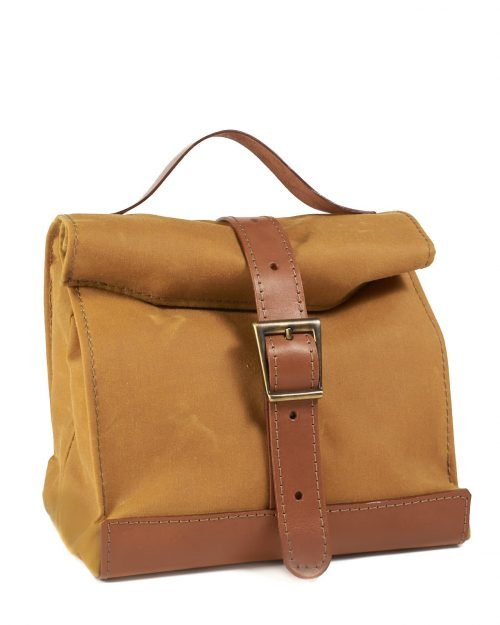 Yellow brown waxed canvas leather lunch bag